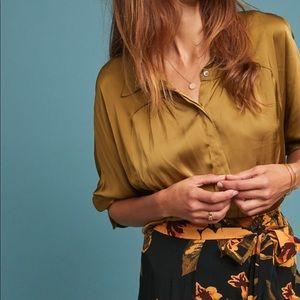 Anthropologie Lustered Front-Button Shirt
